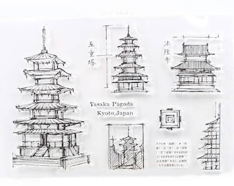 Japanese Pagoda Transparent Stamp,  Rubber Stamps, Journal Accessories - STM150