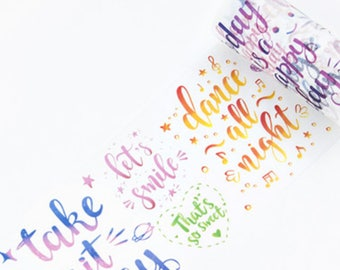 Calligraphy Quotes v2 Watercolour Washi Tape, Wide Washi Tape, Masking Tape - WT453