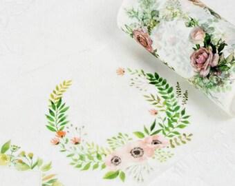 Leafy Flower Garlands Washi Tape, Wide Washi Tape, Masking Tape - WT406