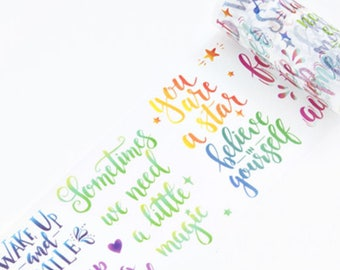 Calligraphy Quotes v1 Watercolour Washi Tape, Wide Washi Tape, Masking Tape - WT453