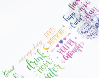 Calligraphy Quotes v3 Watercolour Washi Tape, Wide Washi Tape, Masking Tape - WT453