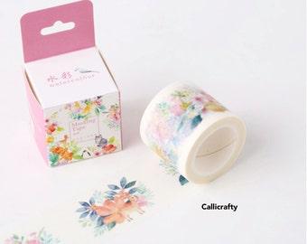 Watercolor Flowers Japanese Washi Tape Masking Tape
