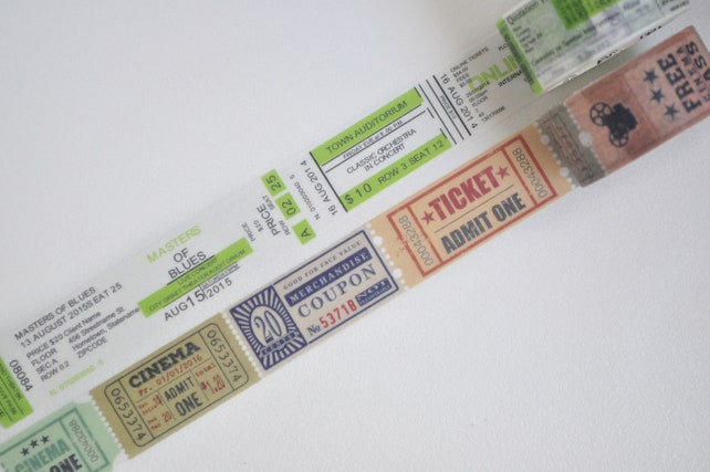 Admit One Ticket Washi Tape, Masking Tape