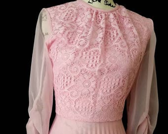 True Vintage Women's 1970's pink Party Dance Dress Sheer Long Sleeve Detailed
