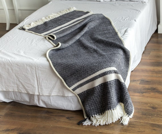 Woven Wool Throw Black Throw Blanket Woven Bed Runner Wool Etsy