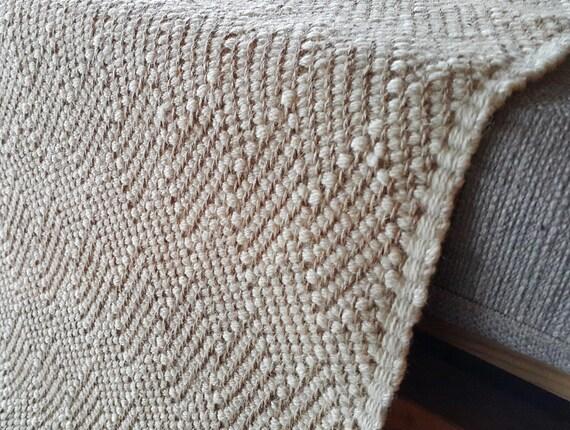 Bedside Wool Rug Jute Rug Wool Rug Beige Handwoven Rug Etsy