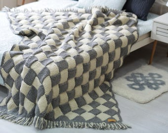 Throw blanket, Wool knit throw, Chunky knit blanket, Wool blanket, Knit throw, Knitted blanket, Knitted wool blanket, Chunky knit throw