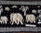 Burmese Kalaga Wall Tapestry Working Elephants 54 quot X 29 quot