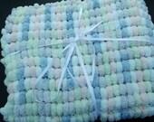 Pastel Shades Baby Blanket. Pom Pom Yarn. Soft and large baby blanket. Pram blanket. Super soft blanket. Free postage.
