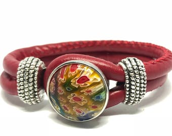 Bracelet Double red button with interchangeable flower bouquet