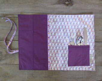 Place mat with pocket, purple placemat for lunch or picnic made from recycled fabric