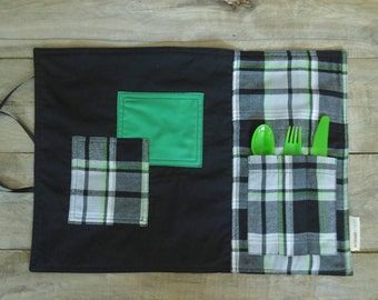 Palcemat for the office, school, lunch box or picnics - made from recycled fabric