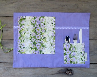 Purple Place mat with pocket, lilac placemat with spring colors for lunch or picnic made from recycled fabric