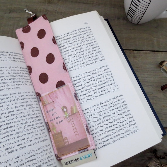 Pink Bookmark Polka Dot Bookmark Made From Recycled Fabric