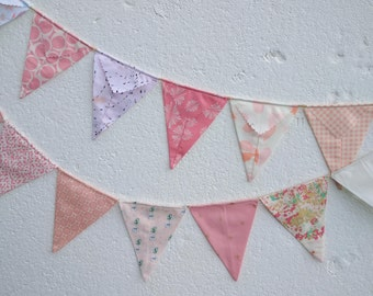 garden birthday in pink fabrics with a modern touch flags or banner for child/'s bedroom Bunting