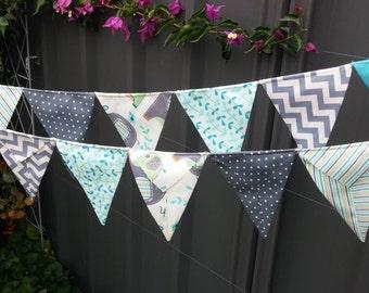 Baby Shower Flag Garland Double Sided Flags Aqua Riley Blake Wedding Banner Modern Fabric Bunting