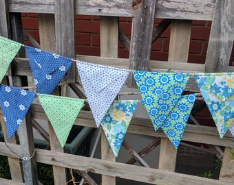 Fabric Bunting Flag Banner Pennants, Wedding Decoration, Baby Shower, Bright, Colorful Bunting, ready to ship