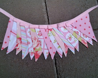 Fabric Bunting - Romantic Shabby Chic Bunting - Photo Prop, Party Decor, Fabric Garland, Nursery Decor Pink Tanya Whelan fabrics