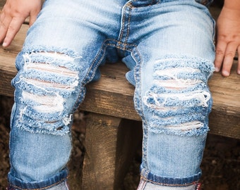b70585289c95 The Bees Knees-Unisex Skinny jeans boys girls denim distressed jeans baby  toddler clothes hipster fashion ripped jeans in