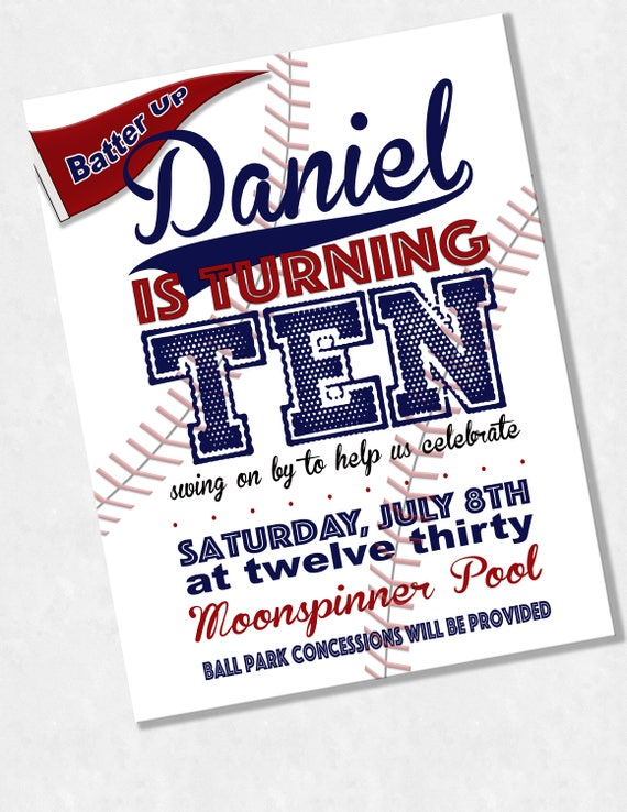 Custom Baseball Invitations Birthday Party