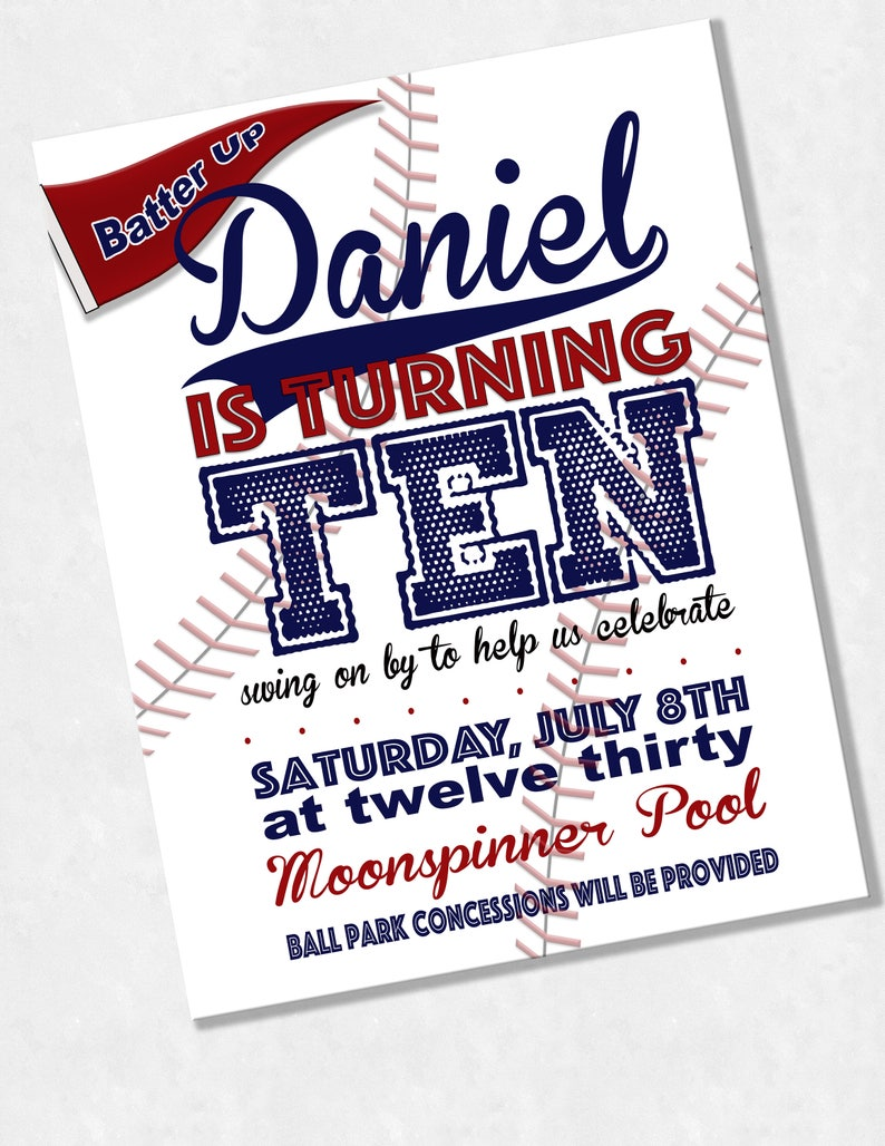 Custom Baseball Invitations Birthday Party