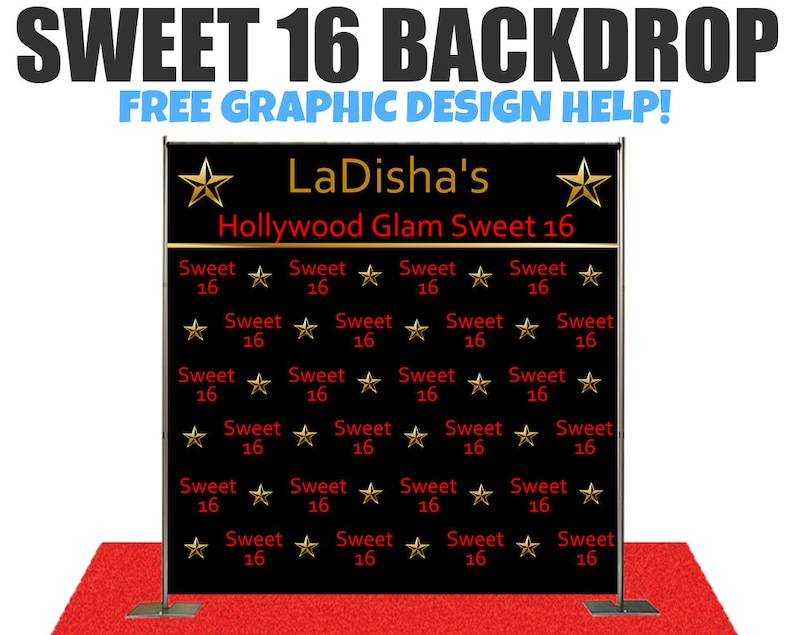 Sweet 16 Hollywood Theme Photo Booth Backdrop Custom Photo Booth Backdrop Step And Repeat Backdrop For WeddingBirthday And Any Event