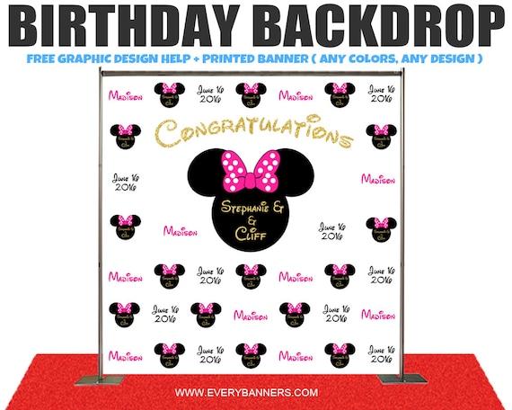 Mickey Mouse Theme Birthday Photo Booth Backdrop Custom Etsy