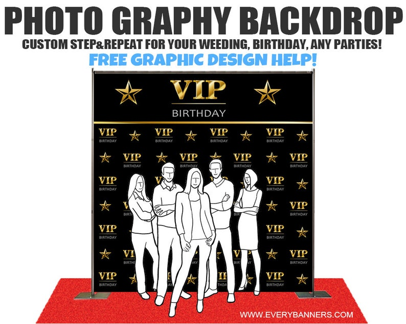 Banner Birthday Step and Repeat Made in USA #1023 Design Sweet 16 Party Stand Red Carpet Event Photo Booth