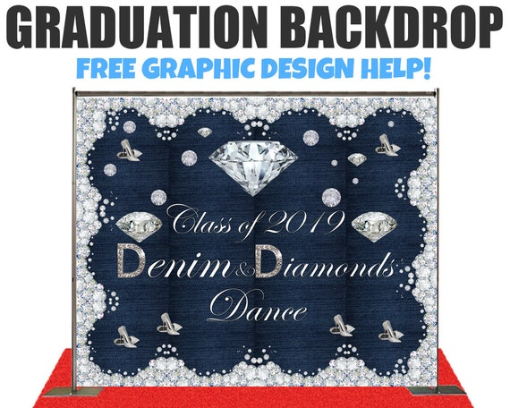 Denim Diamonds Theme Graduation Photo Booth Backdrop Step And Repeat Backdrop For Wedding Backdrop Birthday Backdrop Event Backdrop