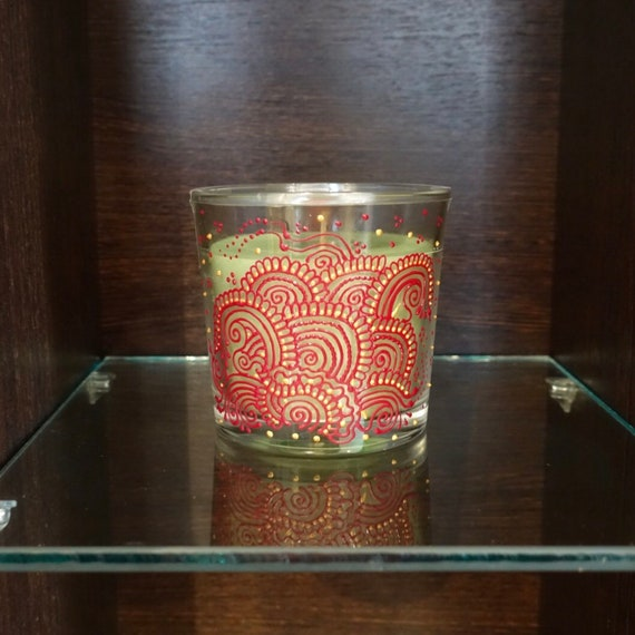Scented Glass Candle Henna Candle Mehndi Candle Candle Etsy
