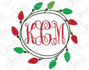 christmas light monogram frame christmas x mas christmas svg christmas monogram svg dxf eps png silhouette cricut cut file commercial use - Christmas Monograms