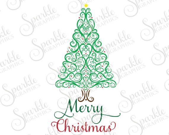 Merry Christmas Ornament Svg.Merry Christmas Cut File Christmas Tree Christmas Svg Winter Flourish Samantha Svg Dxf Eps Png Silhouette Cricut Cut File Commercial Use
