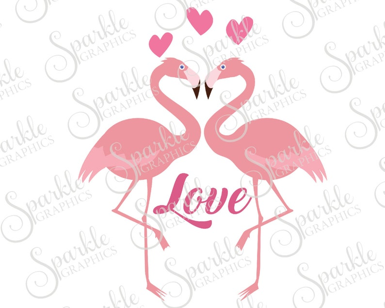 Love Birds Cut File Love Flamingo Hearts Valentined Day SVG Cut File  Clipart Svg Dxf Eps Png Silhouette Cricut Cut File Commercial Use