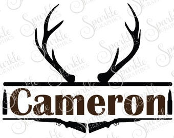 Hunting Monogram Frame Antler Deer Rifle Gun Hunting SVG Deer Monogram Clipart Svg Dxf Eps Png Silhouette Cricut Cut File Commercial Use