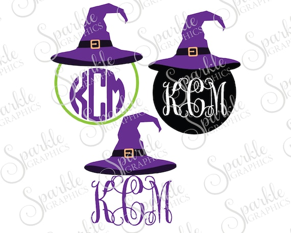 Witch Hat Monogram Frame Cut File Halloween Svg Fall Svg Witch Etsy