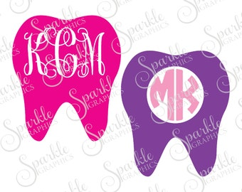 Tooth Monogram Frame Set Cut File Dentist Monogram Frame Teeth Dental Tech Clipart Svg Dxf Eps Png Silhouette Cricut Cut File Commercial Use