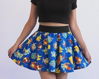 Blue Pokemon Characters Circle Skirt Pikachu Teen Women's Size M Ready to ship!