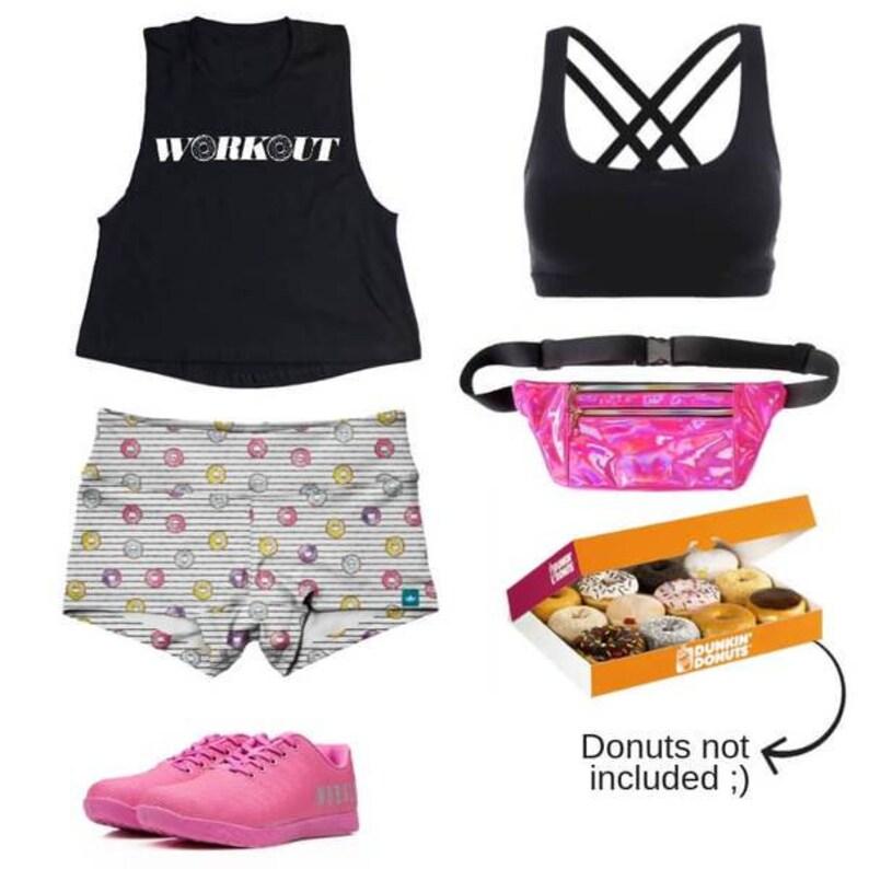 91a26a9f6b1ef Halo ( Donut ) Printed Gym Shorts and Women's Athletic Booty Shorts - (Yoga  shorts / Yoga Wear / Sports Shorts / Crossfit / Weightlifting)
