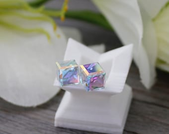 3d418f17e Swarovski Crystal Cube Studs * Sterling Silver Posts * 6mm or 8mm * Square  Crystals * Aurora Borealis * Bridesmaids Bridal Earrings