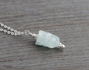 Aquamarine Nugget Necklace; Raw Rough Aquamarine Nugget Pendant & Sterling Silver Cable Chain; Birthstone Necklace