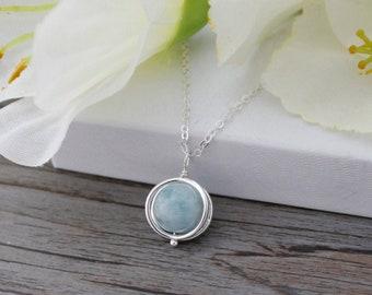 de7a7c1ed Minimalist Aquamarine Necklace * Raw Crystal Necklace * 925 Sterling Silver  * Healing Gemstone * CHAKRA * Wire Wrap * March Birthstone
