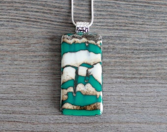 Layered Teal Green and Vanilla Cream Fused Glass Pendant and Satin Necklace/Silver Chain; Reactive; Brown