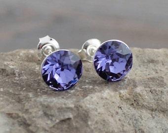 Purple Tanzanite Swarovski Crystal Studs; Sterling Silver Posts; Lightweight; Hypoallergenic; 8mm Round, Minimalist Crystal Stud
