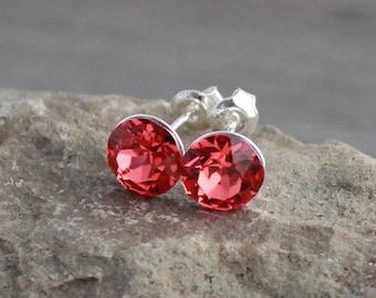 """Sterling Silver & Pink-Peach """"Padparadscha"""" Swarovski Crystal Studs; Lightweight; Hypoallergenic; 8mm Minimalist, Round"""
