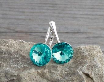 12mm Light Turquoise Swarovski Crystal & Sterling Silver Lever Back Earrings