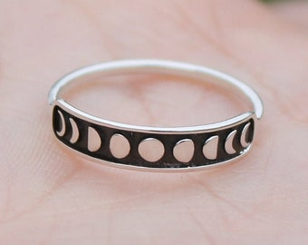 Sterling Silver Moon Phases Ring * Moon Phases * Celestial Moon Ring * Stacking Ring * Band Ring * Sterling Silver Moon Cycle