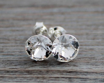 Clear Swarovski Crystal Studs on Sterling Silver Posts; Lightweight; Hypoallergenic; Diamond; 8mm Round; Minimalist Crystal Stud