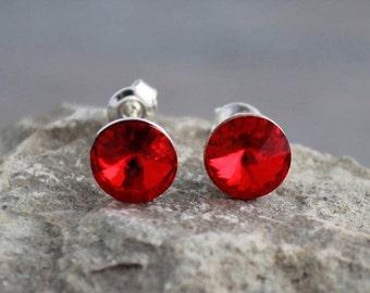 67e37bd7b Red Swarovski Crystal Studs on Sterling Silver Posts; Siam; Ruby Red;  Lightweight; Hypoallergenic; 8mm Round; Minimalist Sterling Studs