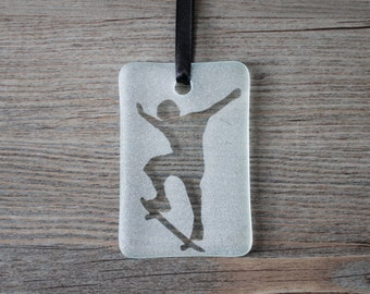 Skateboarding / Skateboarder Fused Glass Christmas Ornament/Sun Catcher; Skateboard; Gifts for him; Gifts under 15