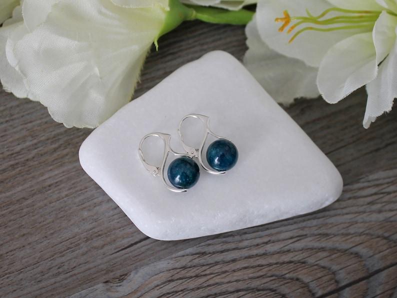 Lever Back Earrings Apatite  Gemstone Sterling Silver European Rose Gold 24 Kt Gold Blue Blue Apatite Earrings BOHO